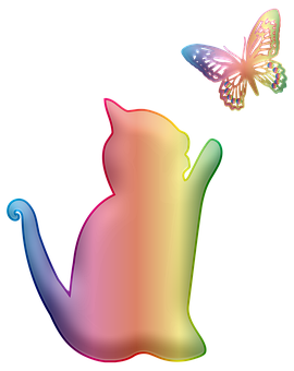 Cat, Butterfly, Colorful, Silhouette
