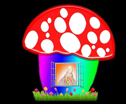 Mushroom, Fairy, Cottage, Mushroom Fairy House, House