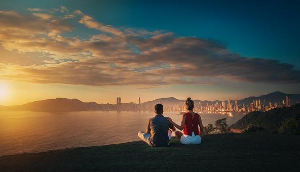 Couple, Sea, Sunset, Hill, Coast, Woman, Man, Sunlight