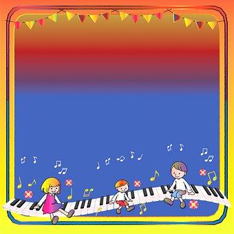 Digital Paper, Border, Children, Piano Keys, Frame