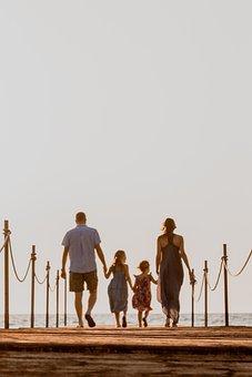 Family, Walk, Beach, Holding Hands, Walking, Baby, Kids