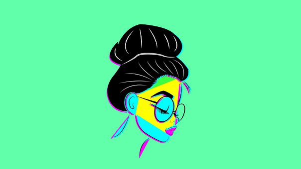 Woman, Female, Glasses, Face, Profile, Bun, Drawing