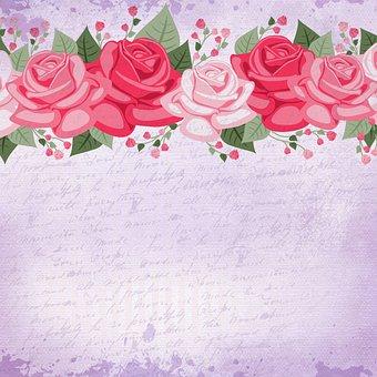 Digital Paper, Roses, Vintage, Border, Floral