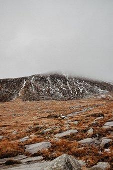Mountain, Field, Fog, Volcano, Grass, Rocks, Stones