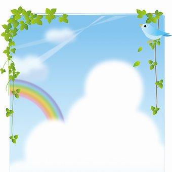Digital Paper, Sky, Clouds, Bird, Foliage, Rainbow