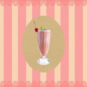 Milk Shake, Glass, Background, Food, Drink, Beverage