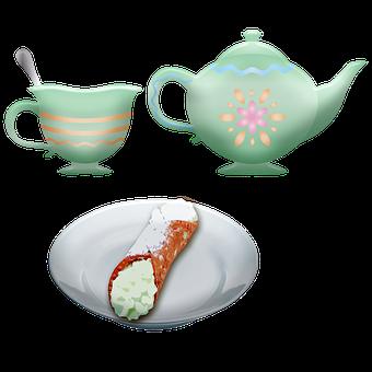 Tea, Cannoli, Teapot, Tea Cup, Italian Pastry, Food