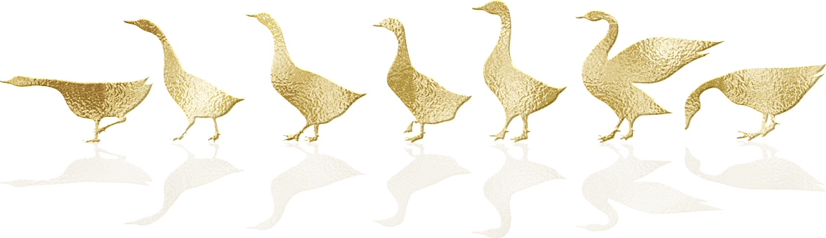 Gold Foil, Geese, Birds, Gold Foil Geese, Shadow