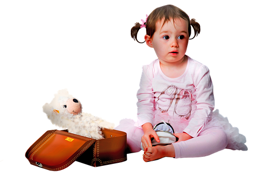 Girl Cut Out, Child, Toddler, Teddy Bear, Pigtails