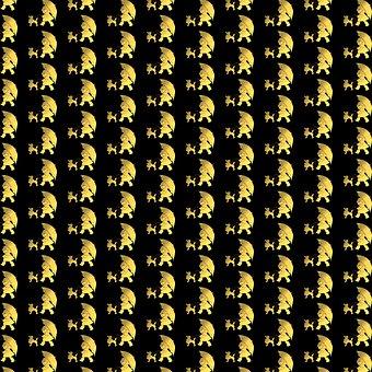 Digital Paper, Gold And Black, Girl Walking Poodle