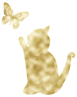 Gold Foil, Cat, Butterfly, Cat With Butterfly