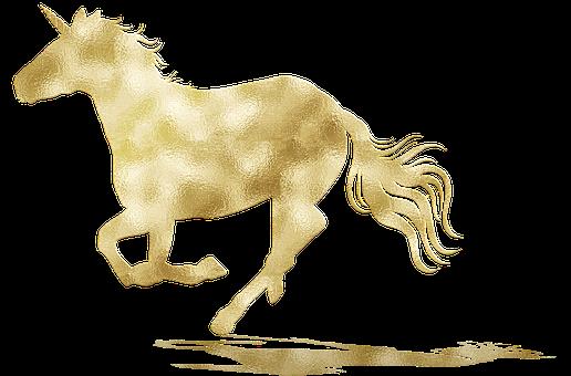 Unicorn, Magical, Gold Foil, Gold Foil Unicorn, Fantasy