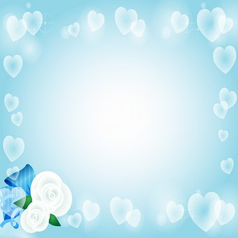 Digital Paper, Hearts, Border, Rose, Greeting