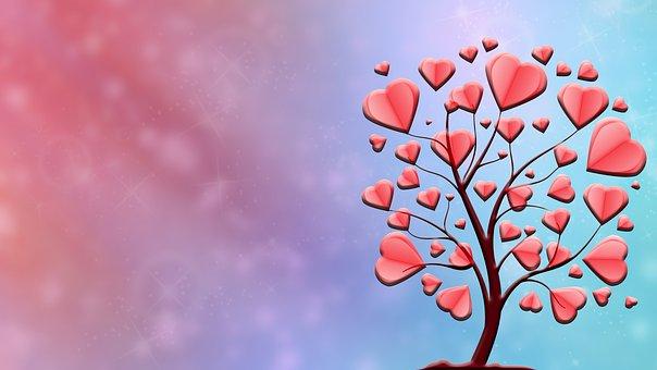 Tree, Filigree, Hearts, Branches