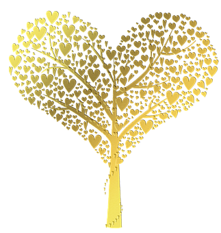 Tree, Filigree, Hearts, Heart Tree, Romance, Romantic