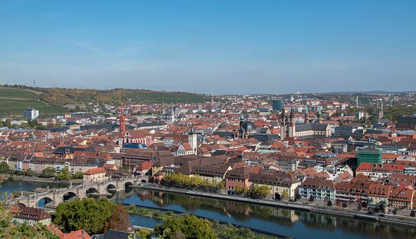 City, Germany, Bavaria, Würzburg, Houses, River, Church