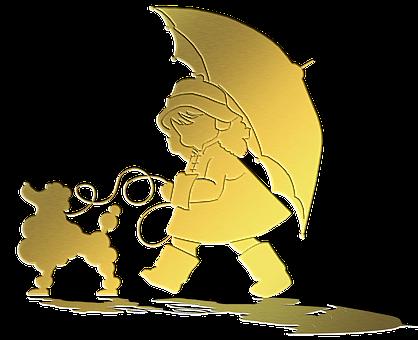 Gold Foil, Poodle, Little Girl, Umbrella, Silhouette