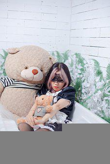 Woman, Maid Costume, Bathtub, Stuffed Toys, Teddy Bears