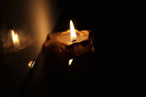 Candle, Water, Mirroring, Candlelight, Mood, Evening