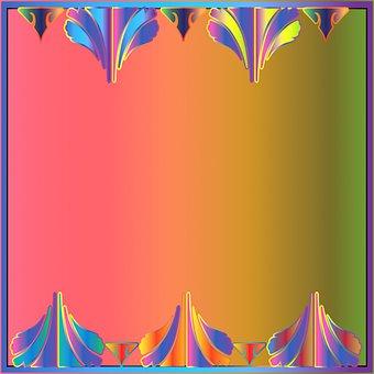 Digital Paper, Border, Colorful, Ornamental, Frame