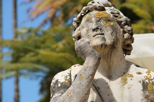 Statue, Paride, Fontana, Miabi, Orto Botanico, Palermo