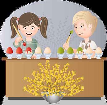 Kids, Easter Eggs, Painting, Children, Childhood, Eggs