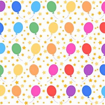 Digital Paper, Balloons, Pattern, Stars, Celebration