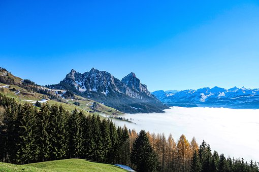 Clouds, Mountains, Panorama, Trees, Forest, Peak
