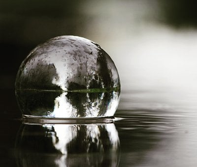 Lensball, Water, Reflection, Rain, Crystal Ball