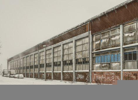 Abandoned, Factory, Blizzard, Road, Winter, Snow, Cold