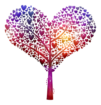 Tree, Filigree, Hearts, Heart Tree, Romance, Romantic