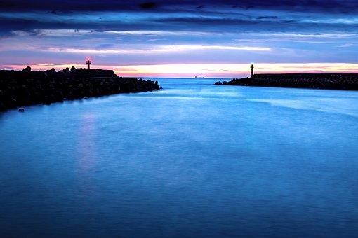 Lighthouse, Cliff, Sea, Silhouette, Coast, Ocean, Water