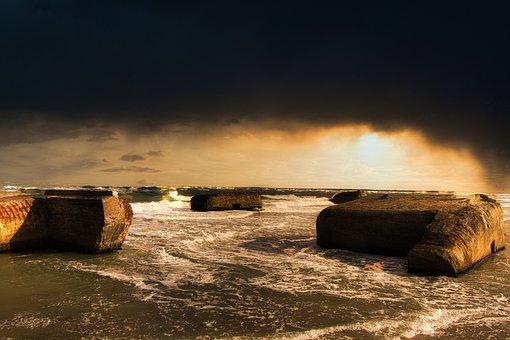 Bunkers, Sea, Clouds, Coast, Seashore, Sand, Waves