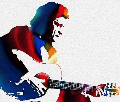Johnny Cash, Man, Guitar, Silhouette, American