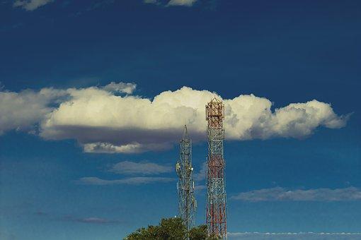 Telecommunication Towers, Towers, Sky, Clouds, Antennas