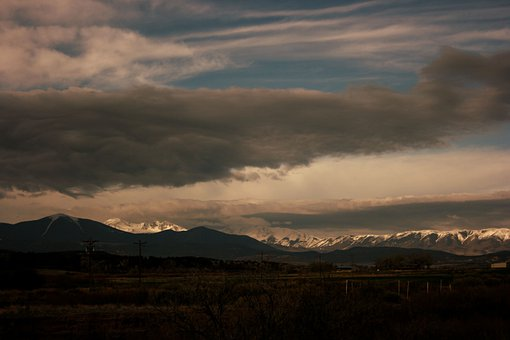 Mountains, Field, Sunset, Sky, Clouds, Panorama