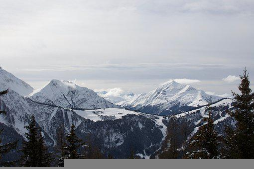 Mountains, Summit, Snow, Trees, Clouds, Sky, Peak