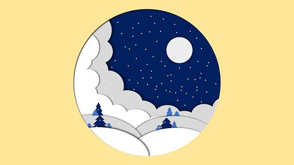 Hills, Snow, Night, Snowing, Snowfall, Moon, Moonlight