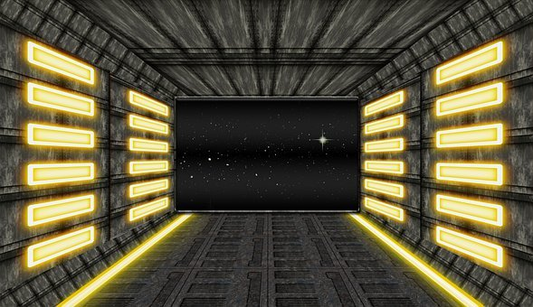 Spaceship, Landing Bay, Space, Stars, Outer Space