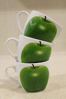 Cups, Apple, Stack, Tea Cups, Green Apple, Pile