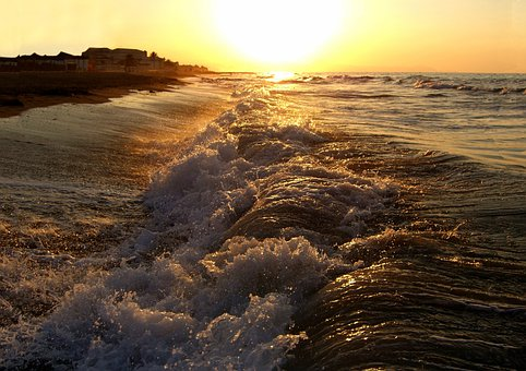 Waves, Sunset, Sea, Beach, Nature, Landscape, Wallpaper