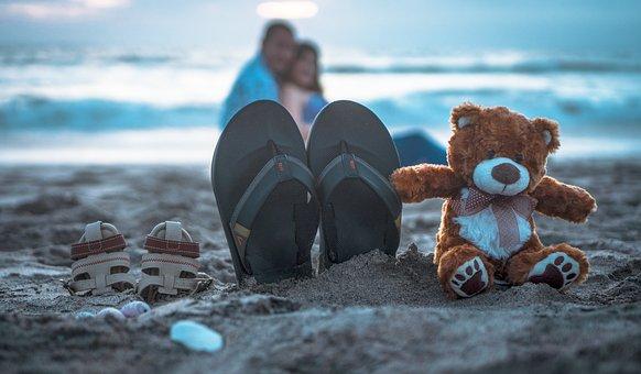 Pregnancy, Teddy Bear, Beach, Slippers, Flip-flops