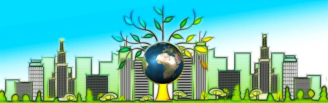 Skyscraper, City, Tree, Earth, Globe, Nature