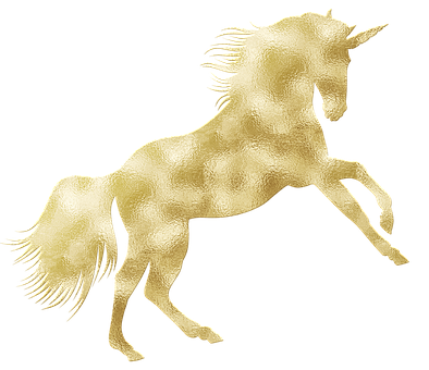 Unicorn, Magical, Gold Foil, Gold Foil Unicorn, Fantasy