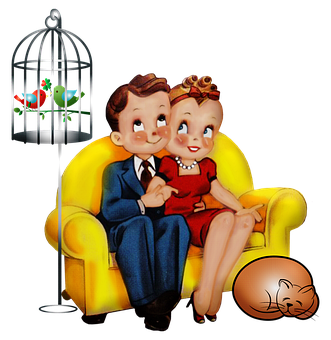 Couple, Birdcage, Vintage, Vintage Couple, Sitting
