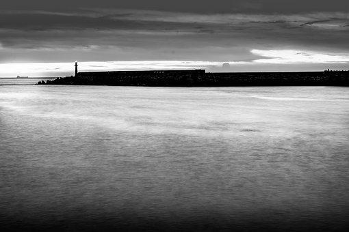 Lighthouse, Sea, Monochrome, Cliff, Coast, Ocean, Water
