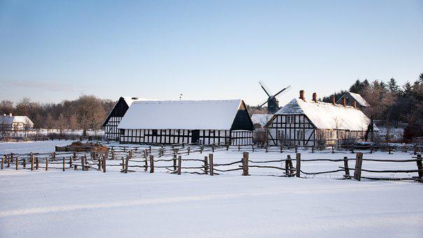 Hjerl Hede, Museum, Winter, Buildings, Fence, Windmill