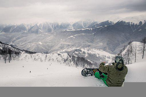 Mountains, Winter, Snowboarding, Person, Snowboard