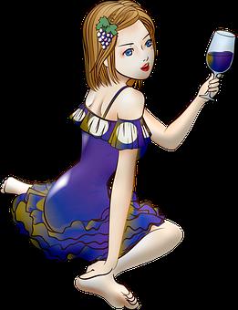 Woman, Wine, Anime, Girl, Anime Girl, Glass, Kawaii