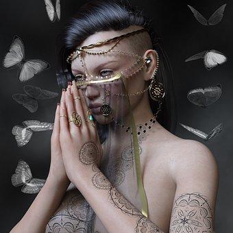 Woman, Jewellery, Composing, Prayer, Background